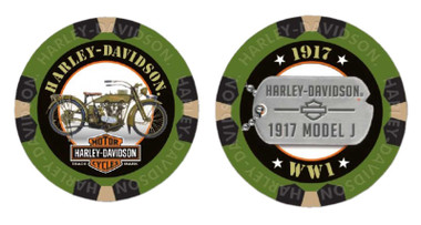 Harley-Davidson Military Series Alpha 1 1917 Model J Collectible Poker Chip 6741 - Wisconsin Harley-Davidson