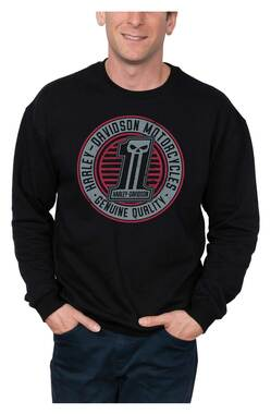 Harley-Davidson Men's Shredded #1 Skull Pullover Fleece Sweatshirt, Black - Wisconsin Harley-Davidson