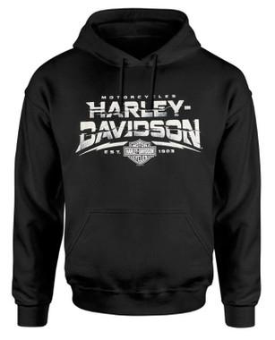 Harley-Davidson Men's Bar & Shield H-D Text Pullover Fleece Hoodie, Black - Wisconsin Harley-Davidson
