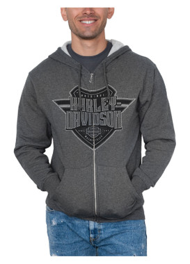 Harley-Davidson Men's Sentinel H-D Zip-Up Cotton-Blend Hoodie, Charcoal Heather - Wisconsin Harley-Davidson
