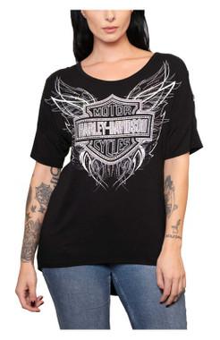 Harley-Davidson Women's Etheric 3/4 Sleeve Scoop Neck High-Low Top - Black - Wisconsin Harley-Davidson