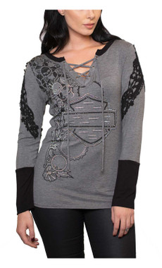Harley-Davidson Women's Cascade Lace-Up Front Crochet Long Sleeve Top - Gray - Wisconsin Harley-Davidson