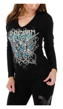 Liberty Wear Women's Blackhawk Freedom Embellished Long Sleeve Shirt - Black - Wisconsin Harley-Davidson
