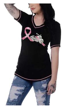 Liberty Wear Women's Grace Pink Ribbon Embellished Short Sleeve Tee - Black - Wisconsin Harley-Davidson