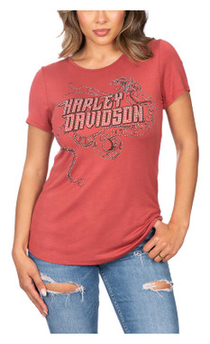 Harley-Davidson Women's Serpent Script Embellished Short Sleeve Cut-Out Tee - Wisconsin Harley-Davidson