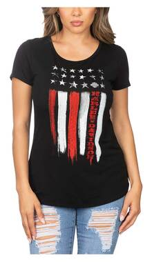 Harley-Davidson Women's Freedom Embellished Short Sleeve Scoop Neck Tee - Black - Wisconsin Harley-Davidson
