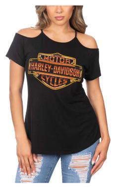 Harley-Davidson Women's Fire Up B&S Cold Shoulder Short Sleeve Tee - Black - Wisconsin Harley-Davidson