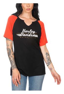 Harley-Davidson Women's Embellished H-D Raglan Short Sleeve Scoop Neck Top - Wisconsin Harley-Davidson