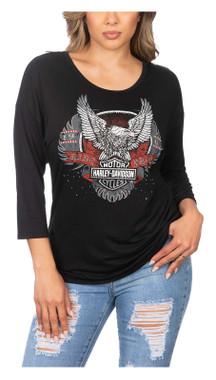 Harley-Davidson Women's Ride Harley Ride Embellished 3/4 Sleeve Top - Black - Wisconsin Harley-Davidson