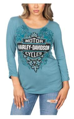 Harley-Davidson Women's Flowering B&S Embellished 3/4 Gathered Sleeves Top- Teal - Wisconsin Harley-Davidson