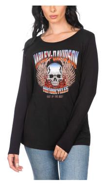 Harley-Davidson Women's Wild Rose Embellished Scoop Neck Long Sleeve Top - Black - Wisconsin Harley-Davidson