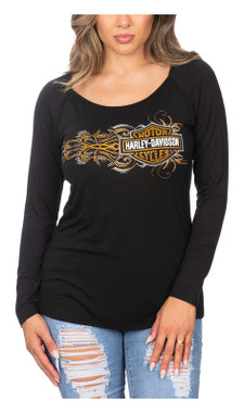 Harley-Davidson Women's Embellished B&S Long Sleeve Scoop Neck Top - Black - Wisconsin Harley-Davidson