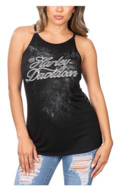 Harley-Davidson Women's Shinning Lace Accented Sleeveless Tank Top - Black - Wisconsin Harley-Davidson