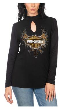 Harley-Davidson Women's Embellished Winged B&S Long Sleeve Keyhole Top - Black - Wisconsin Harley-Davidson