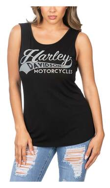Harley-Davidson Women's Batter Up Embellished Scoop Neck Sleeveless Tank Top - Wisconsin Harley-Davidson