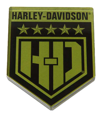 Harley-Davidson Cut-Out H-D Military Shield Hard Acrylic Magnet - 3 x 2.5 inches - Wisconsin Harley-Davidson