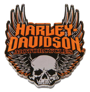 Harley-Davidson Cut-Out Winged Skull Hard Acrylic Magnet - 3 x 2.5 inches - Wisconsin Harley-Davidson