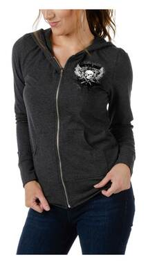 Liberty Wear Women's Devilish Embellished Zip-Up Heavy Weight Hoodie - Charcoal - Wisconsin Harley-Davidson