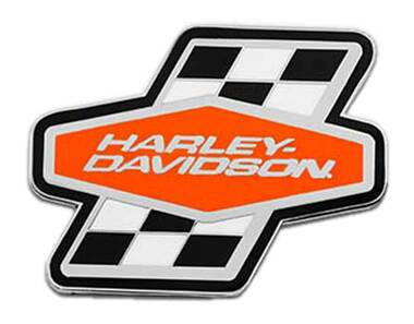Harley-Davidson 1.5 inch. H-D Racing Checkered Metal Pin, Silver Nickel Finish - Wisconsin Harley-Davidson