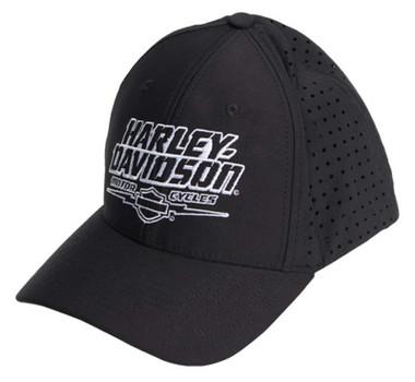 Harley-Davidson Men's Big Shot Curved Bill Stretch Fit Baseball Cap - Black - Wisconsin Harley-Davidson