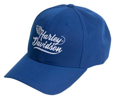 Harley-Davidson Men's H-D Wing Curved Bill Adjustable Buckle Baseball Cap- Royal - Wisconsin Harley-Davidson