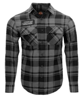 Harley-Davidson Men's Screamin' Eagle Plaid Flannel Long Sleeve Shirt-Gray/Black - Wisconsin Harley-Davidson