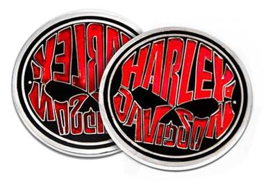 Harley-Davidson Willie G Skull H-D Text Metal Challenge Coin- Black/Red, 1.75in. - Wisconsin Harley-Davidson