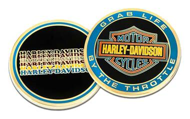 Harley-Davidson Grab Life by the Throttle B&S Metal Challenge Coin, 1.75 in. - Wisconsin Harley-Davidson
