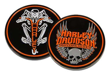 Harley-Davidson Winged Skull & H-D Text Metal Challenge Coin - Black, 1.75 in. - Wisconsin Harley-Davidson