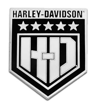 Harley-Davidson 1.5 inch. H-D White Shield Metal Pin, Antique Silver Finish - Wisconsin Harley-Davidson