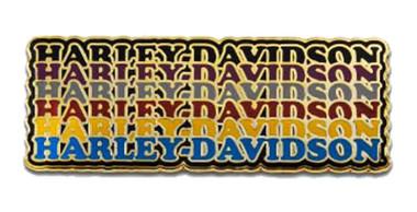 Harley-Davidson 1.75 inch. Harley Stacked Text Metal Pin, Silver Nickel Finish - Wisconsin Harley-Davidson