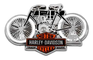 Harley-Davidson 1.5inch. Vintage Motorcycle B&S Metal Pin, Antique Silver Finish - Wisconsin Harley-Davidson