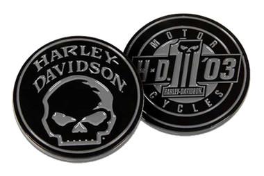 Harley-Davidson Willie G Skull & #1 Skull Metal Challenge Coin - Black, 1.75 in. - Wisconsin Harley-Davidson