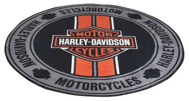 Harley-Davidson Bar & Shield Logo Racing Stripes Round Area Rug - 5.25 ft. - Wisconsin Harley-Davidson