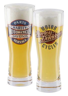 Harley-Davidson Parts & Service Graphic Set of Two Pilsner Glasses - 24 oz. - Wisconsin Harley-Davidson