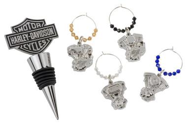 Harley-Davidson Bar & Shield Engine Wine Bottle Stopper & Wine Glass Charms Set - Wisconsin Harley-Davidson