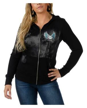Liberty Wear Women's Ride Route 66 Embellished Ribbed Knit Zip-Up Hoodie - Black - Wisconsin Harley-Davidson