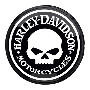 Harley-Davidson Willie G Skull Logo Wall Mounted Round Pub Light - Black/White - Wisconsin Harley-Davidson