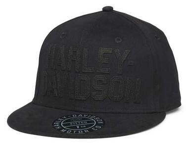Harley-Davidson Men's H-D Felt Block Fitted Baseball Cap - Black 99408-22VM - Wisconsin Harley-Davidson