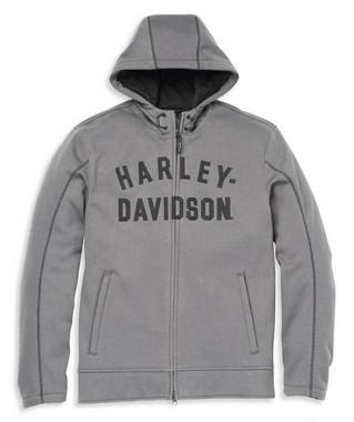 Harley-Davidson Men's Deflector Hooded Riding Fleece Jacket, Gray 97104-22VM - Wisconsin Harley-Davidson