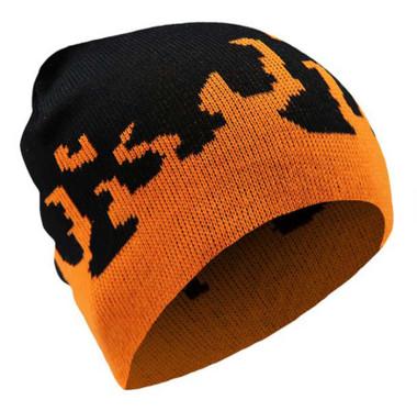 That's A Wrap Men's Blaze Flames Knit Winter Beanie Cap - Orange & Black - Wisconsin Harley-Davidson