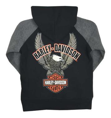 Harley-Davidson Big Boys' Embroidered Fleece Zip Hoodie, Black/Gray 6590563 - Wisconsin Harley-Davidson