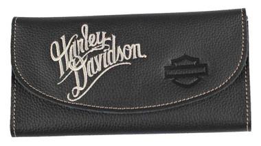 Harley-Davidson Women's Embroidered Script Tri-Fold Wallet, Black ZWL3871-CRMBLK - Wisconsin Harley-Davidson