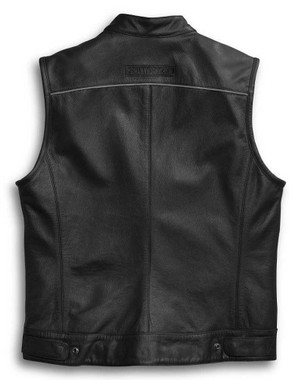 Harley-Davidson Men's Leather Vest, Foster Reflective, Black 98090-15VM - Wisconsin Harley-Davidson