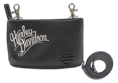 Harley-Davidson Women's Embroidered H-D Script Hip Bag w/ Strap, ZWL3887-CRMBLK - Wisconsin Harley-Davidson