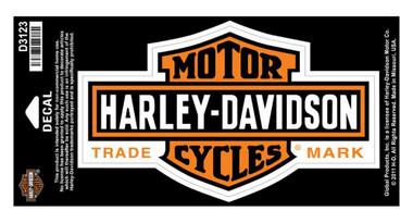 Harley-Davidson Long Bar & Shield Decal Orange, Large Size D3123 - Wisconsin Harley-Davidson