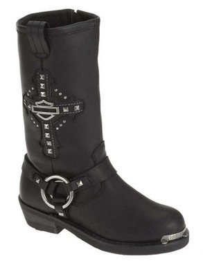 Harley-Davidson Women's Mila 10-Inch Black Leather Motorcycle Boots. D87062 - Wisconsin Harley-Davidson