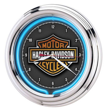 Harley-Davidson Essential Bar & Shield Blue Neon Clock, 12 in Diameter HDL-16675 - Wisconsin Harley-Davidson