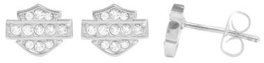 Harley-Davidson Women's Petite White Bling Bar & Shield Post Earrings HDE0282 - Wisconsin Harley-Davidson