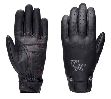 Harley-Davidson Women's Skull Rivet Full-Finger Leather Gloves, Black 98222-16VW - Wisconsin Harley-Davidson